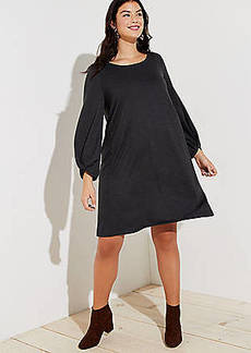 LOFT Plus Twist Cuff Swing Dress