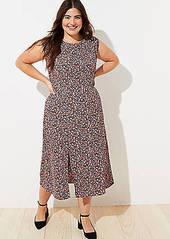 LOFT Plus Vine Cap Sleeve Midi Dress