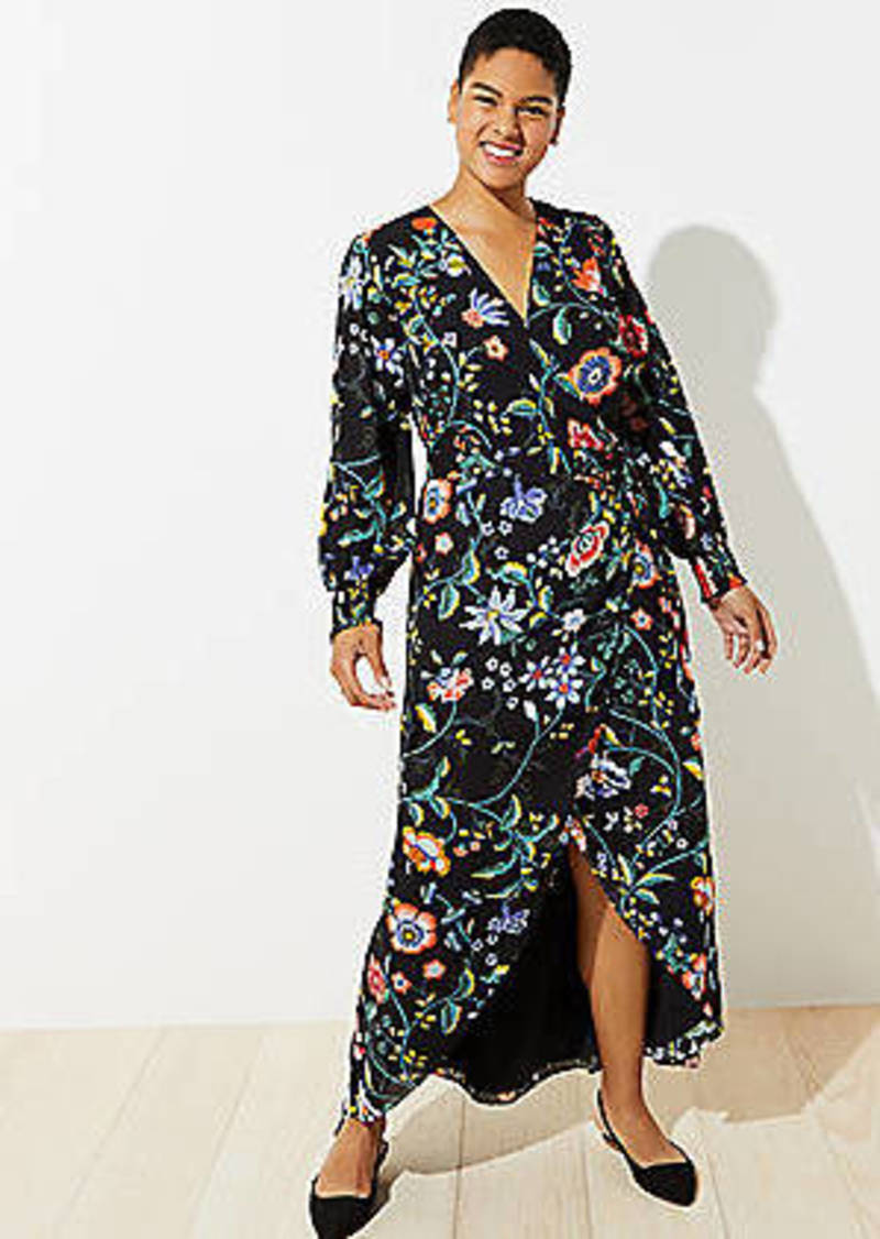 LOFT Plus Vine Maxi Wrap Dress