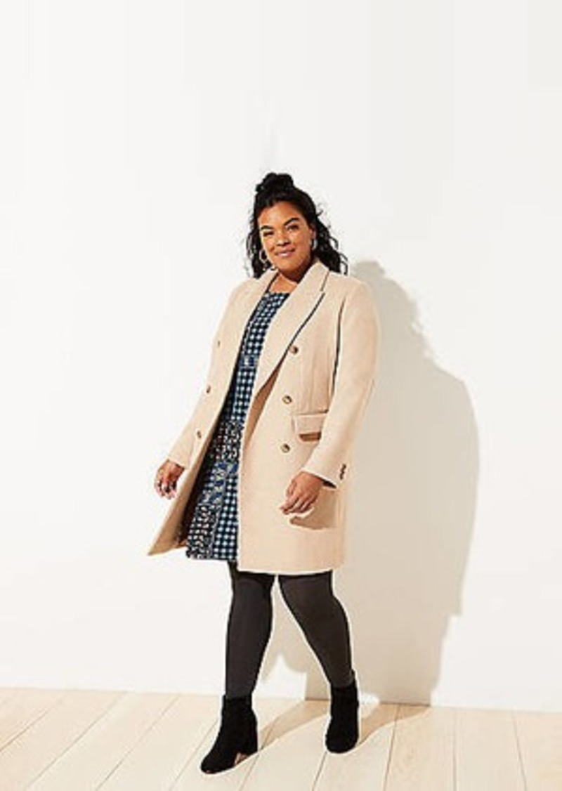 LOFT Plus Wool Twill Double Breasted Coat