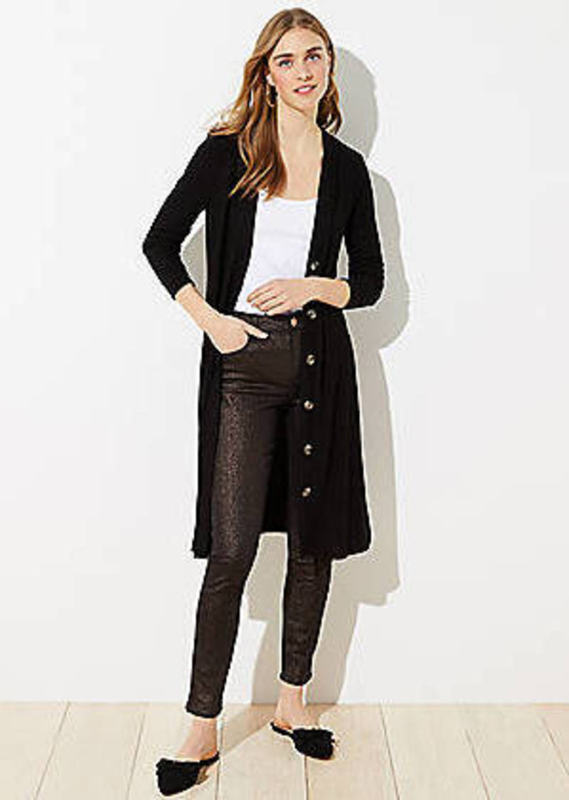 LOFT Long Ribbed V-Neck Cardigan