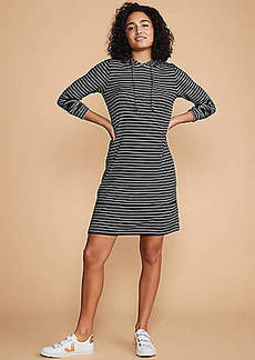 LOFT Lou & Grey Brushstripe Hoodie Dress