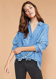 LOFT Lou & Grey Chambray Tie Front Shirt