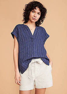 LOFT Lou & Grey Crosshatch Softstretch Linen Tie Waist Shorts