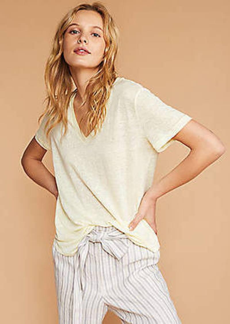LOFT Lou & Grey Linen V-Neck Shirttail Tee