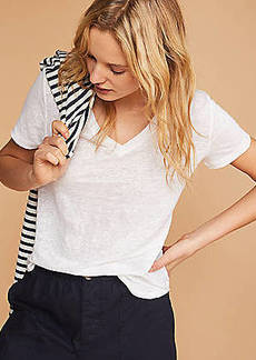 LOFT Lou & Grey Linen V-Neck Shirttail Tee