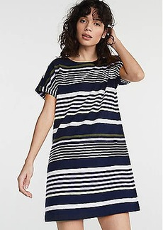 LOFT Lou & Grey Stripe Cuffed Tee Dress