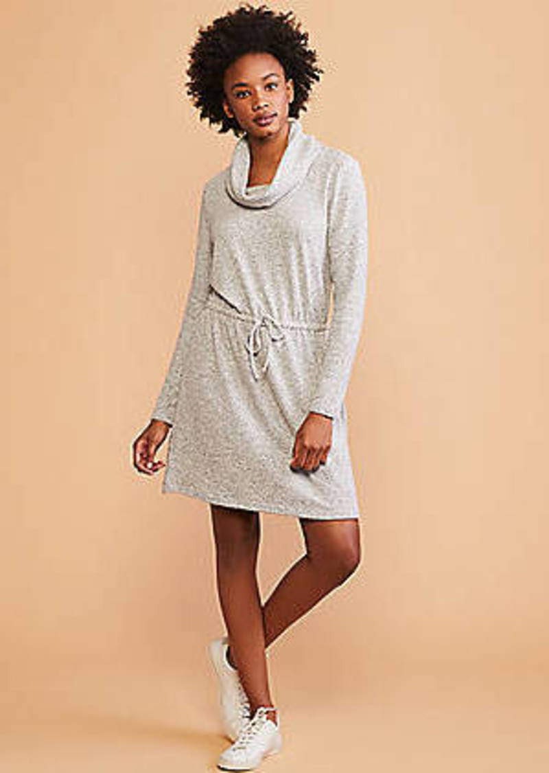 LOFT Lou & Grey Striped Brushmarl Cowl Drawstring Dress