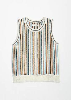 LOFT Lou & Grey Striped Fringe Sweater Tank