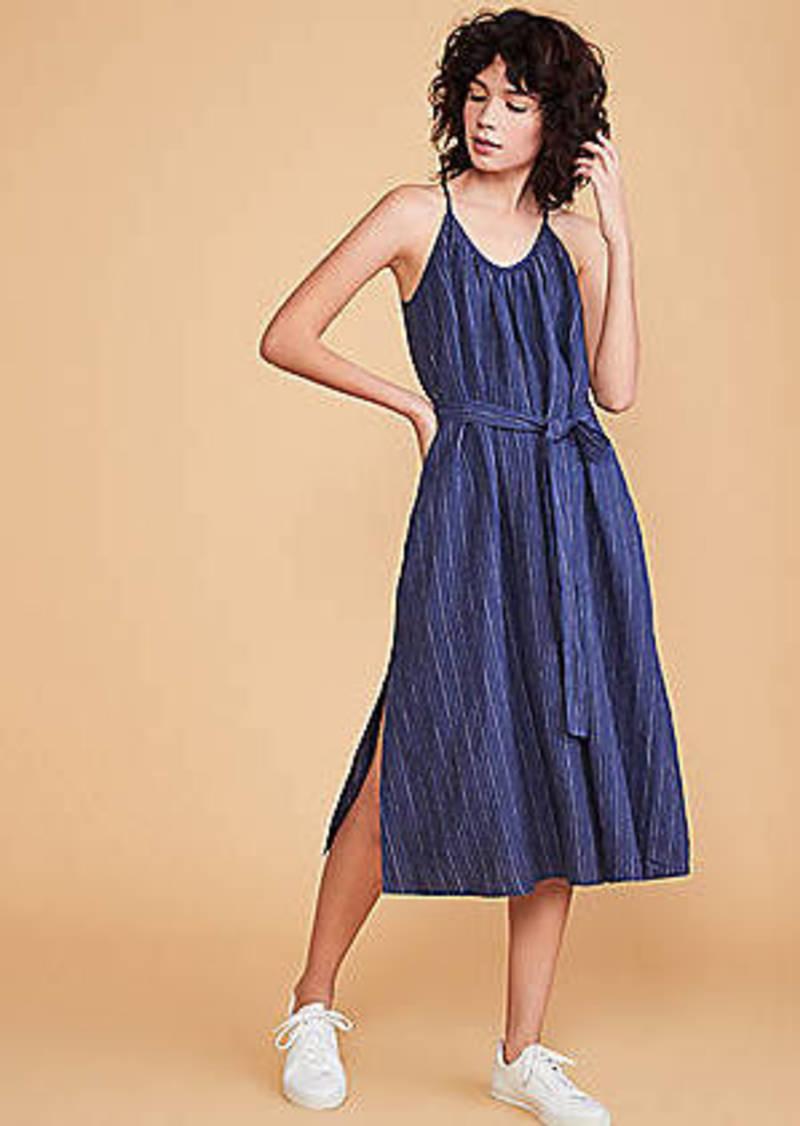 LOFT Lou & Grey Striped Strappy Linen Pocket Dress
