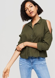 Lou & Grey Dobby Stripe Cold Shoulder Shirt