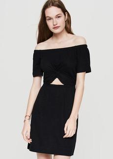 Lou & Grey Linen Jersey Twist Off The Shoulder Dress