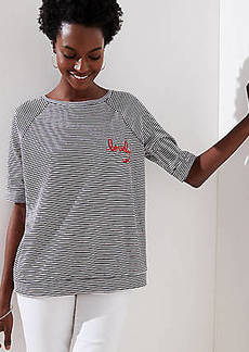 LOFT Lovely Striped Vintage Soft Sweatshirt Tee