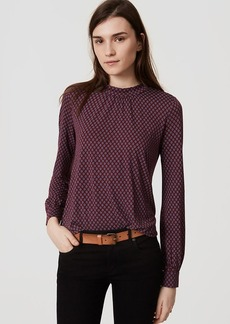 LOFT Diamond Dot Mockneck Shirred Blouse