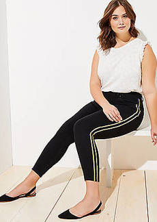 LOFT Plus Shimmer Side Stripe Skinny Jeans in Black