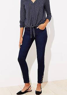 LOFT Snap Hem Skinny Jeans in Original Mid Indigo Wash