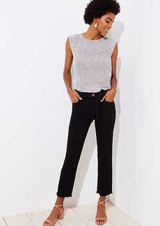 LOFT Tie Waist Straight Leg Jeans in Black