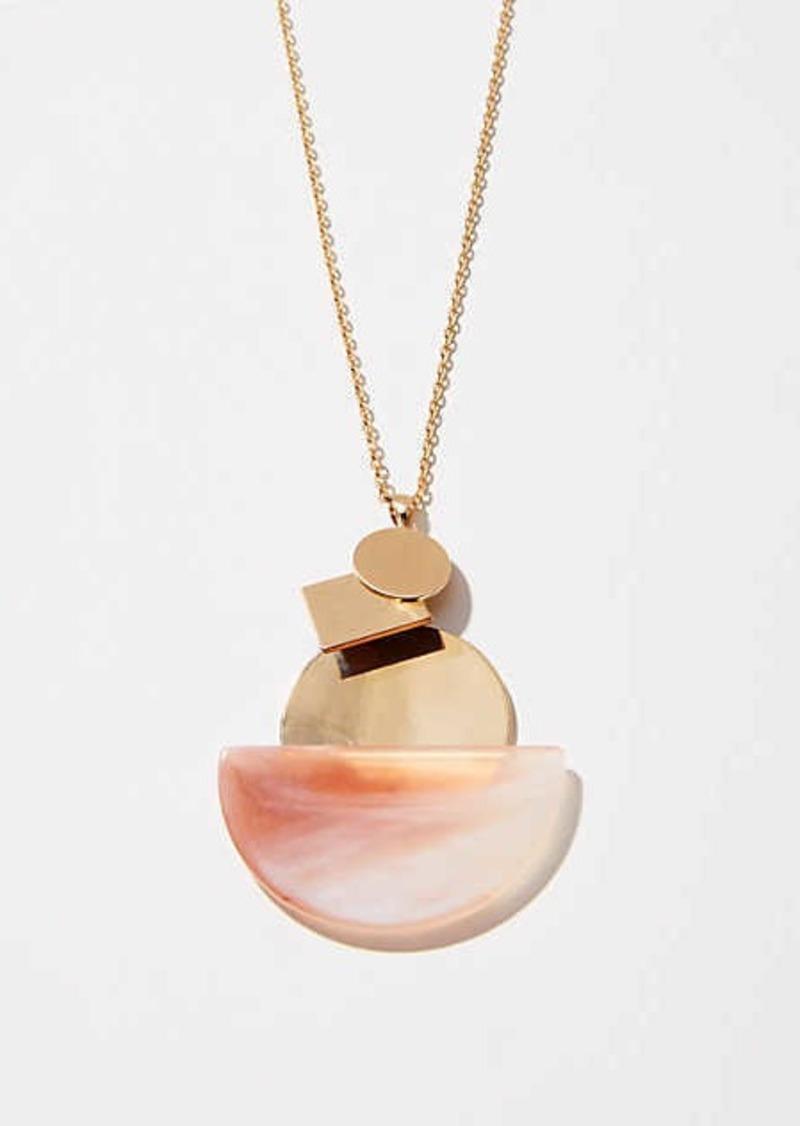 LOFT Marbleized Disc Pendant Necklace