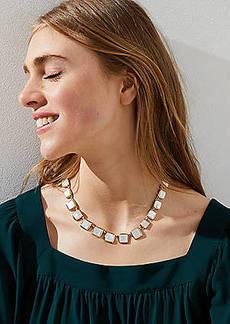 LOFT Marbleized Square Necklace