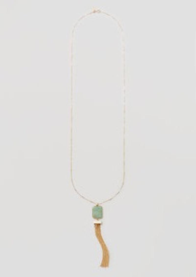 LOFT Marbleized Tasseled Stone Pendant Necklace