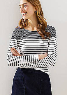 LOFT Maritime Stripe Long Sleeve Shirttail Tee