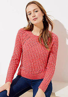 LOFT Marled Bobble Pointelle Sweater