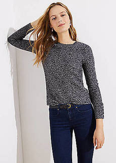 LOFT Marled Button Cuff Sweater