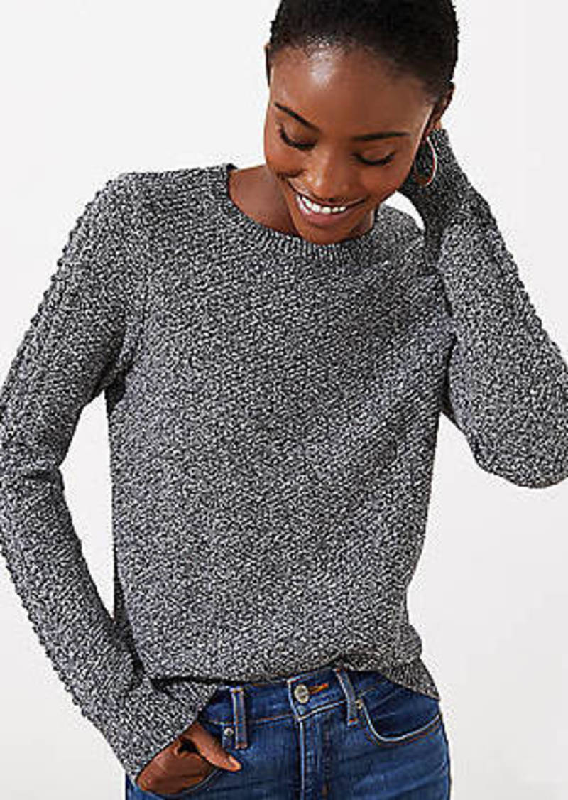 LOFT Marled Cable Sleeve Sweater