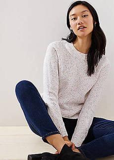 LOFT Marled Rib Trim Sweater