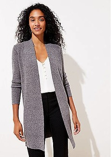 LOFT Marled Ribbed Open Cardigan
