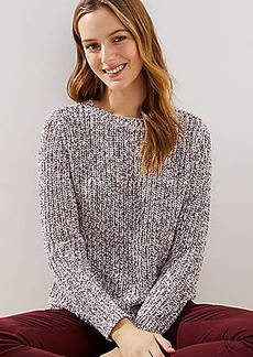 LOFT Marled Ribbed Shirttail Sweater