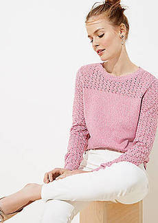 LOFT Marled Stitched Yoke Sweater