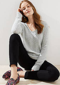 LOFT Marled V-Neck Sweater