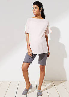 LOFT Maternity Bermuda Roll Shorts
