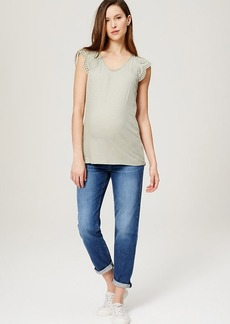 LOFT Maternity Boyfriend Jeans in Dark Cargo Blue Wash