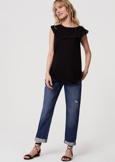 LOFT Maternity Boyfriend Jeans in Destructed Mid Indigo Wash