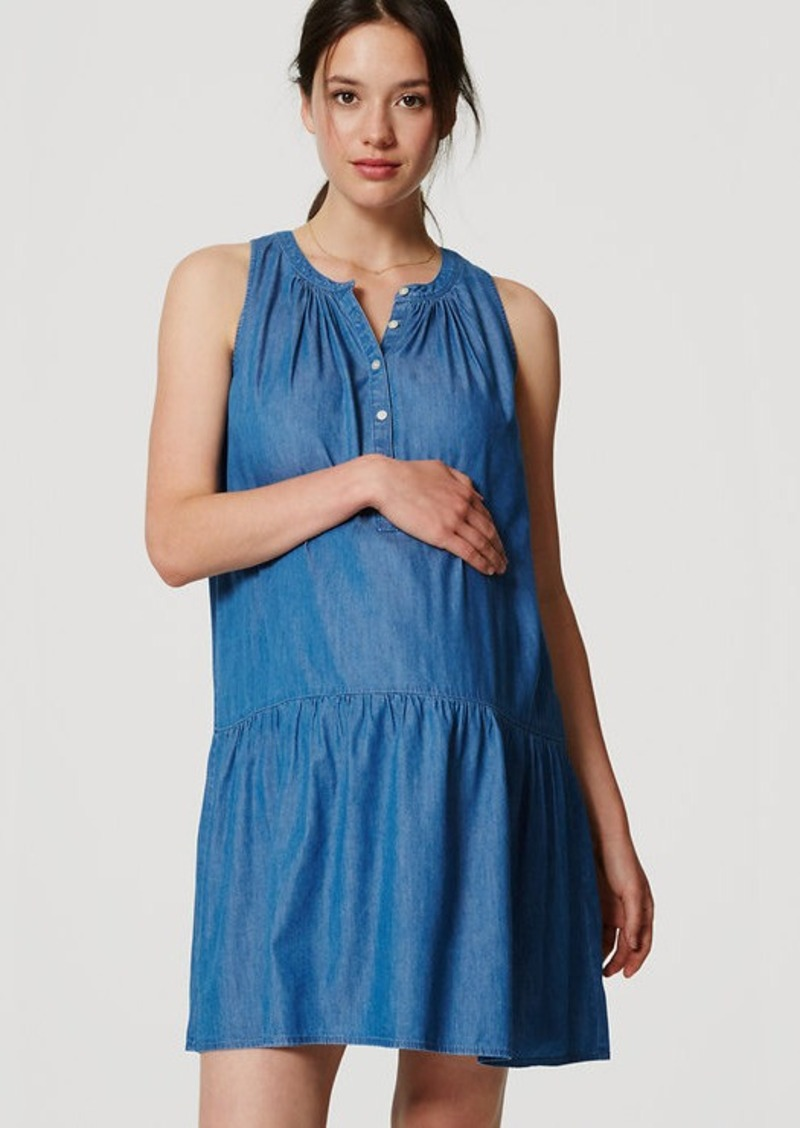 LOFT Maternity Chambray Drop Waist Dress