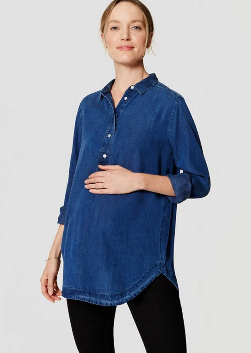 51e0b05d4eeb8 On Sale today! LOFT Maternity Chambray Henley Tunic Softened Shirt