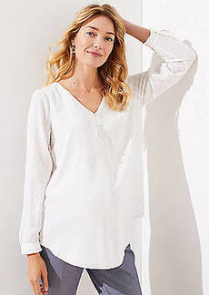 LOFT Maternity Clip Dot V-Neck Blouse
