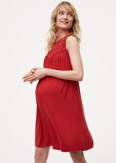 Maternity Crochet Yoke Swing Dress