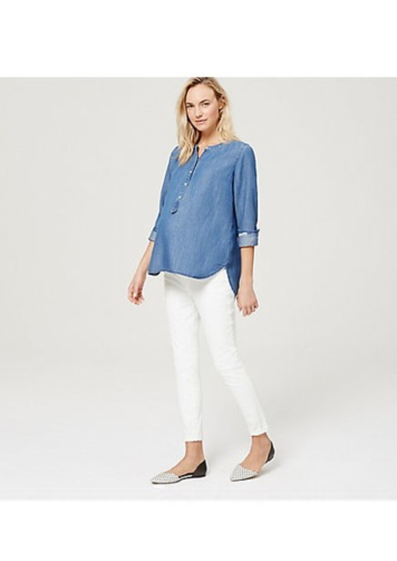 LOFT Maternity Demi Panel Skinny Jeans in White