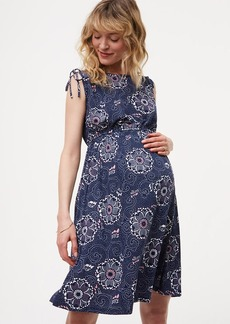 Maternity Floral Cinched Shoulder Dress