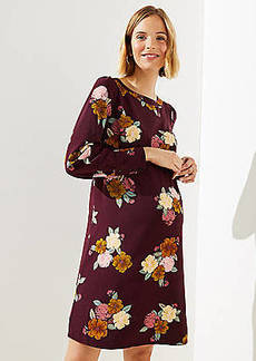 LOFT Maternity Floral Cuffed Shift Dress