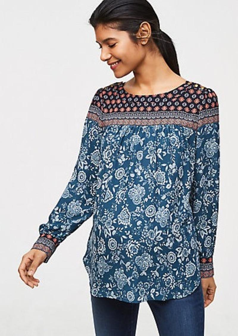 8540db50670101 LOFT Maternity Floral Mosaic Shoulder Button Blouse   Dress Shirts