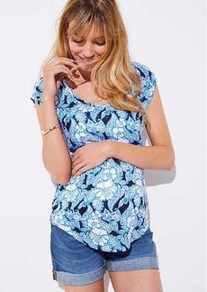 LOFT Maternity Floral Paisley Linen Shirttail Tee