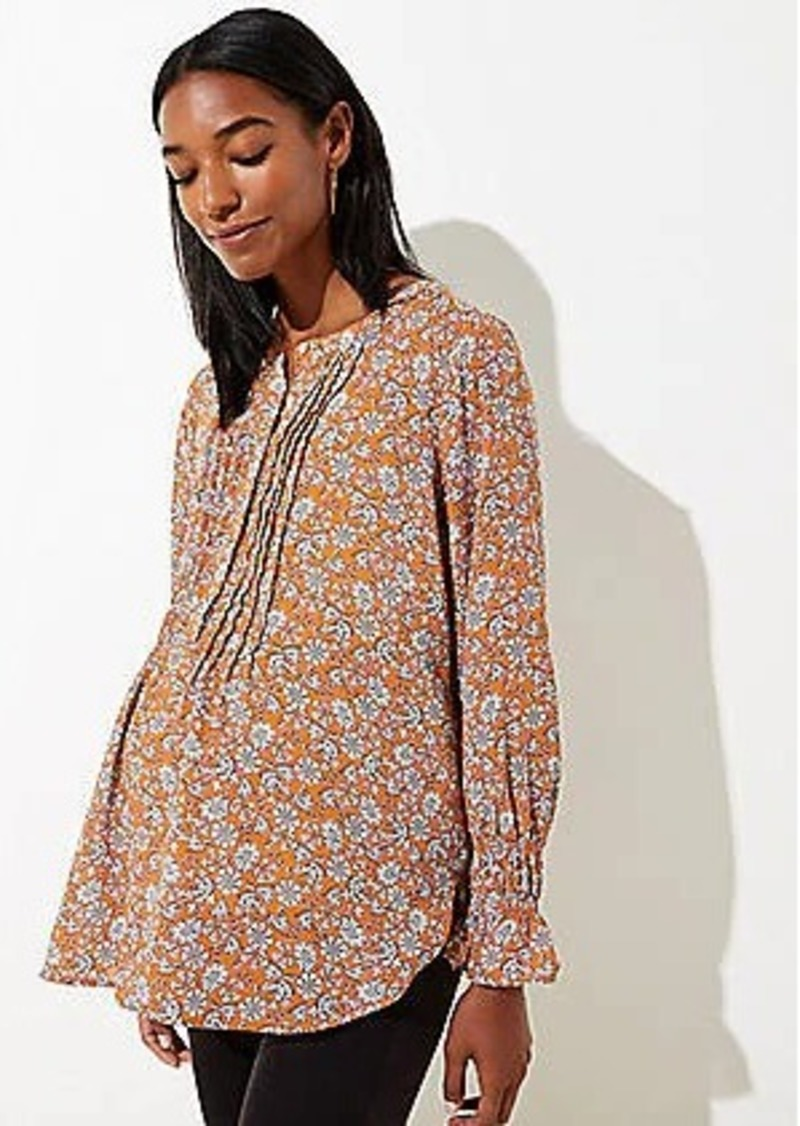 LOFT Maternity Floral Pintucked Henley Blouse