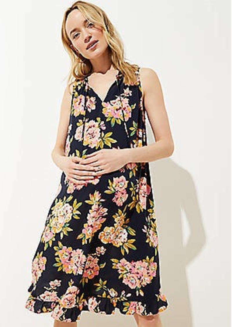 LOFT Maternity Floral Ruffled Tie Neck Swing Dress