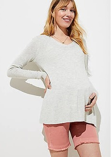 LOFT Maternity Frayed Bermuda Shorts