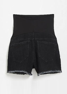 LOFT Maternity Frayed Cut Off Shorts in Washed Black
