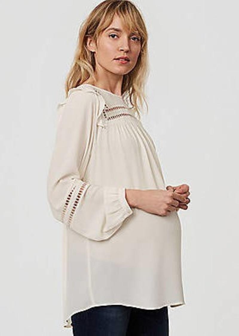 LOFT Maternity Lacy Ruffle Shoulder Blouse